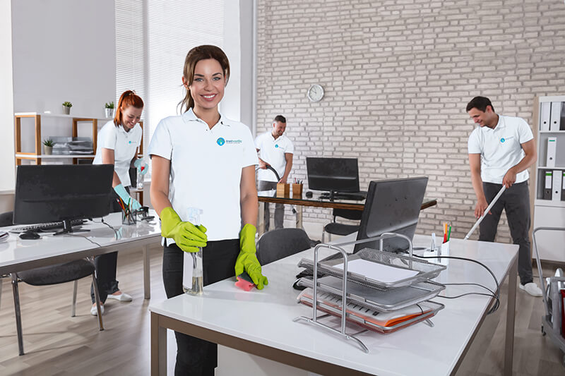 group cleaning office